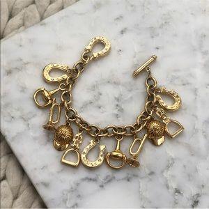 St. John Gold Link Charm Equestrian Bracelet